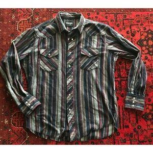 VTG Wrangler Striped Western Shirt Pearl Snap LG